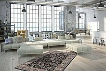Flachflor Perser Teppich Klassische Teppiche Klassisch floral Design Schwarz , Größe:120cm x 170cm