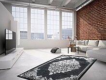 Flachflor Teppich Klassische Teppiche Klassisch Design Glanzgarn Schwarz SALE, Größe:120cm x 170cm
