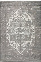 Flachgewebe Teppich Antika Ornament - samtartige Chenille aus hochwertiger & pflegeleichter Acrylfaser | zeitloses Design in 2 eleganten Farben: Anthrazit & Grau | Angesagter Vintage- bzw. Used-Look, Farbe:Grau, Größe:155 x 230 cm