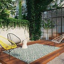 Flachgewebe-Teppich Carole in Grün