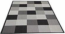 Flachgewebe Teppich Essenza Karo schwarz 080 x 150