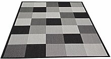 Flachgewebe Teppich Essenza Karo schwarz 200 x 290 cm