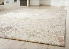 Flachgewebe-Teppich in Rosa/Gelb