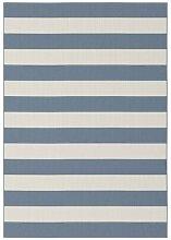 Flachgewebe-Teppich Kyler in Blau/Weiß