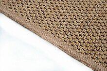 Flachgewebe Teppich Läufer Sahara nach Maß - versandkostenfrei robuste Kunstfaser in Sisal-Optik schadstoffgeprüft pflegeleicht strapazierfähig dekorativ Wohnzimmer Schlafzimmer Büro Flur Diele, Farbe:Cognac, Größe:100 x 600 cm