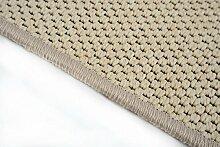 Flachgewebe Teppich Läufer Sahara nach Maß - versandkostenfrei robuste Kunstfaser in Sisal-Optik schadstoffgeprüft pflegeleicht strapazierfähig dekorativ Wohnzimmer Schlafzimmer Büro Flur Diele, Farbe:Beige, Größe:67 x 200 cm