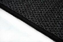 Flachgewebe Teppich Läufer Sahara Schwarz nach Maß versandkostenfrei robuste Kunstfaser in Sisal-Optik schadstoffgeprüft pflegeleicht strapazierfähig dekorativ Wohnzimmer Schlafzimmer Büro Flur Diele, Größe Auswählen:80 x 900 cm