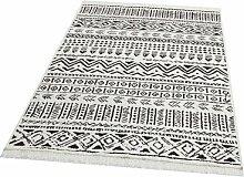 Flachgewebe-Teppich Lumley aus Baumwolle in