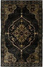 Flachgewebe-Teppich Ornamento in Anthrazit
