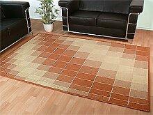 Flachgewebe Teppich Ruggy Terrakotta Beige in 7 Größen REDUZIERT
