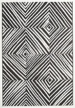 Flachgewebe Teppich Zebra - Raute schwarz 160 x 230 cm