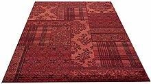 Flachgewebe Vintage Teppich Aura Patch rot 140 x 200 cm