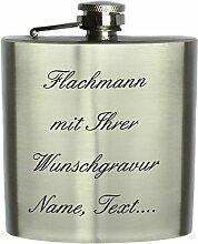 Flachmann Edelstahl mit Wunschgravur, Wunschtext,