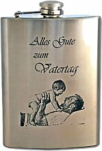 Flachmann mit Foto- und Textgravur zum Vatertag
