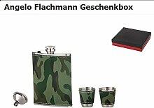Flachmann Tarndekor in Geschenkbox