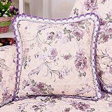 Flachs Sofakissen großes Bett Kissen Kissen kit Kit bedside Rückenpolster Kit, 50x50cm, lila Blüten