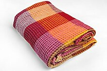 Flachsfarben Europa Leinen-Mischgewebe Handtücher–Rot und Gelb–geprüft–Waffelmuster–Natur Flachs, Rot, gelb, 100x135 cm