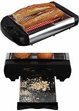 Flachtoaster Brotröster Tischröster Edelstahl Toaster Krümelschublade Brötchen Röster (Quarz Heizelement, Thermostat, Grill, 600 Watt, Automatische Abschaltung)
