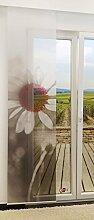 Flächengardine von LYSEL® - Blüte transparent mit Motiv in den Maßen 245 cm x 60 cm grau/grauro