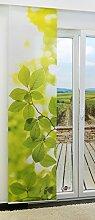 Flächengardine von LYSEL® - Elmtree lichtdurchlässig mit Motiv in den Maßen 245 cm x 60 cm grün/weißgrün