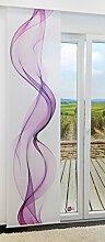 Flächengardine von LYSEL® - Hatz lichtdurchlässig mit Motiv in den Maßen 245 cm x 60 cm violett/beere