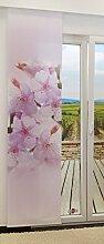 Flächengardine von LYSEL® - Kirschblüte lichtdurchlässig mit Motiv in den Maßen 245 cm x 60 cm violett/zartviole