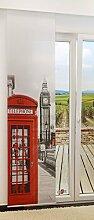 Flächengardine von LYSEL® - London lichtdurchlässig mit Motiv in den Maßen 245 cm x 60 cm rot/rot grau