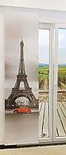 Flächengardine von LYSEL® - Paris lichtdurchlässig mit Motiv in den Maßen 245 cm x 60 cm grau/rotgrau