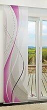 Flächengardine von LYSEL® - Swing lichtdurchlässig mit Motiv in den Maßen 245 cm x 60 cm violett/beere