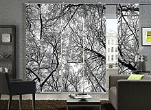 Flächenvorhang 5er Set Schiebevorhang Wood Black