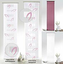 Flächenvorhang Blätter in beere pink halbtransparent inkl. Universal-Zubehör HxB 245x60 cm - Schiebegardine Web-Scherli Gardine Typ412