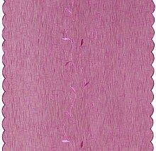 Flächenvorhang floral bestickt Schiebegardine ca. 60x245 cm Wellen Saum halbtransparent Beere