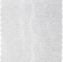 Flächenvorhang floral bestickt Schiebegardine ca. 60x245 cm Wellen Saum halbtransparent weiß