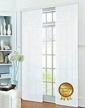 Flächenvorhang, Schiebegardine Blickdicht matt, Weiß Deluxe, aus Micro Satin (Mikrofaser Gewebe), mit Paneelwagen und Beschwerungsstange -85600-, 85600
