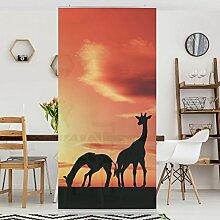 Flächenvorhang Set African Life Afrika Savanne Silhouette Giraffe 250x120cm | Schiebegardine Schiebevorhang Raumtrenner Vorhang Raumteiler Gardine Paravent Wandbild XXL Deko Dekor Größe: 250 x 120cm inkl. transparenter Halterung