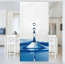 Flächenvorhang Set Blue Drop 250x120cm | Schiebegardine Schiebevorhang Raumtrenner Vorhang Raumteiler Gardine Paravent Wandbild XXL Deko Dekor | Größe HxB: 250x120cm inkl. magnetischer Aluminiumhalterung