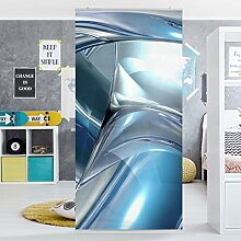 Flächenvorhang Set Cold Steel 250x120cm | Schiebegardine Schiebevorhang Raumtrenner Vorhang Raumteiler Gardine Paravent Wandbild XXL Deko Dekor | Größe HxB: 250x120cm inkl. transparenter Halterung