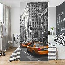 Flächenvorhang Set New York New York! 250x120cm | Schiebegardine Schiebevorhang Raumtrenner Vorhang Raumteiler Gardine Paravent Wandbild XXL Deko Dekor | Größe HxB: 250x120cm inkl. transparenter Halterung