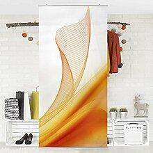 Flächenvorhang Set Orange Dust 250x120cm | Schiebegardine Schiebevorhang Raumtrenner Vorhang Raumteiler Gardine Paravent Wandbild XXL Deko Dekor | Größe HxB: 250x120cm ohne Halterung