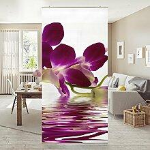 Flächenvorhang Set Pink Orchid Waters 250x120cm   Schiebegardine Schiebevorhang Raumtrenner Vorhang Raumteiler Gardine Paravent Wandbild XXL Deko Dekor   Größe HxB: 250x120cm inkl. transparenter Halterung