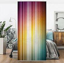 Flächenvorhang Set Rainbow Light 250x120cm | Schiebegardine Schiebevorhang Raumtrenner Vorhang Raumteiler Gardine Paravent Wandbild XXL Deko Dekor | Größe HxB: 250x120cm inkl. transparenter Halterung