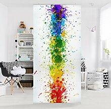 Flächenvorhang Set Rainbow Splatter 250x120cm | Schiebegardine Schiebevorhang Raumtrenner Vorhang Raumteiler Gardine Paravent Wandbild XXL Deko Dekor | Größe HxB: 250x120cm ohne Halterung