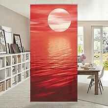 Flächenvorhang Set Red Sunset Sonne Sonnenuntergang Meer Ozean Rot 250x120cm   Schiebegardine Schiebevorhang Raumtrenner Vorhang Raumteiler Gardine Paravent Wandbild XXL Deko Dekor Größe: 250 x 120cm inkl. transparenter Halterung