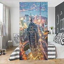 Flächenvorhang Set Shanghai 250x120cm | Schiebegardine Schiebevorhang Raumtrenner Vorhang Raumteiler Gardine Paravent Wandbild XXL Deko Dekor | Größe HxB: 250x120cm inkl. transparenter Halterung