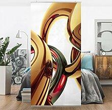 Flächenvorhang Set Stunning Gold Style 250x120cm | Schiebegardine Schiebevorhang Raumtrenner Vorhang Raumteiler Gardine Paravent Wandbild XXL Deko Dekor | Größe HxB: 250x120cm inkl. transparenter Halterung