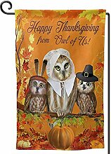 Flag Banner,Happy Thanksgiving Day Owls Ahorn