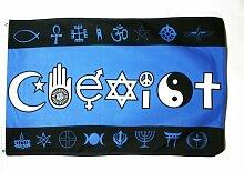 FLAGGE COEXIST RELIGIONEN 150x90cm - ZUSAMMENLEBEN FAHNE 90 x 150 cm - flaggen AZ FLAG Top Qualitä
