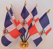 Flagge Dominikanische Republik 5Desktop Tisch mit Gold Boden