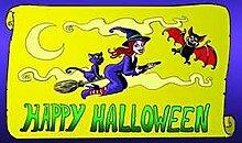 Flagge Fahne Halloween Hexe mit Katze, ca. 90 x 150 cm