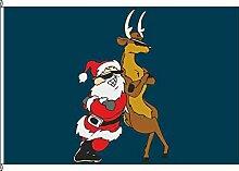Flagge Fahne Kleinflagge Santa and Reindeer blau - 40 x 60cm